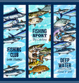 banners for fishing or fisher sport club vector image vector image