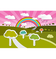 Paper Nature Background with Trees Clouds and vector image vector image