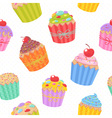 Seamless pattern with delicious muffins vector image vector image