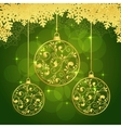 snowflakes green background vector image vector image