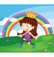 Cartoon of a girl in the park vector image