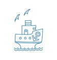 cartoon ship with anchor and gull vector image