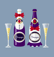champagne of the newlyweds bottle with glass flat vector image