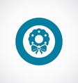 Christmas wreath icon bold blue circle border vector image