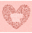 doodle cosmetic products heart shaped background vector image