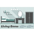 Flat living room interior vector image