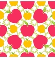 Seamless pattern with red and yellow apples vector image