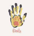 stylish poster with family handprints vector image