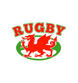 rugby ball wales red welsh dragon vector image vector image