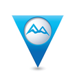 mountain icon on blue triangular map pointer vector image