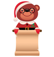 Teddy bear Santa Claus with a scroll Christmas vector image vector image