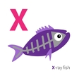 Letter X X-ray fish Zoo alphabet English abc with vector image vector image