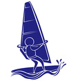 Sport icon design for sailing in blue color vector image