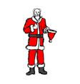 bald magician santa claus with magic wand vector image