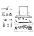 Bathroom interior elements Mirror and washbasin vector image