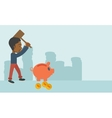 Black guy holding a hammer breaking piggy bank vector image