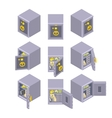 Isometric metal safe storage vector image