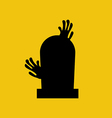 Headstone and zombie hands silhouette vector image