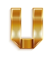 Letter metal gold ribbon - U vector image