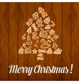 Christmas tree poster of cookies buscuits vector image