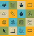 set of 16 online connection icons includes pc vector image