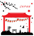 japan view travel black and red vector image
