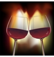 Romantic scene of two glasswine by fireplace vector image