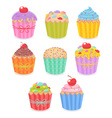 A set of tasty colorful muffins and cupcakes vector image