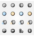 Tire and wheels icons set vector image