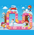 boardgame template with kids in the snow vector image