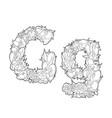 flower alphabet the letter g vector image