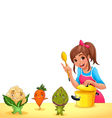 Girl is cooking with three funny vegetables vector image