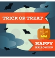 halloween pumpkin front moon background vector image