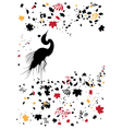 heron and autumnal leaves vector image