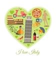 I love Italy Italy travel background with place vector image