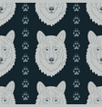 seamless pattern with wolves and traces vector image