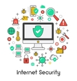 Internet Security Data Protection Line Art Icons vector image