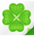 Ornate lucky clover on paper vector image vector image