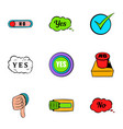 button yes icons set cartoon style vector image