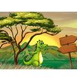 A crocodile walking near the empty arrowboards vector image vector image