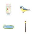 territory plan bird lake lighting pole park vector image