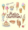 ice cream hand drawn design with fruits vector image