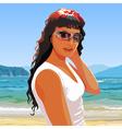 beautiful girl in sunglasses smiling standing vector image