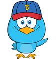 Cute Bird Cartoon Wearing a Baseball Hat vector image