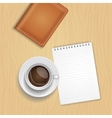 coffee cup and blank notepad on wood vector image