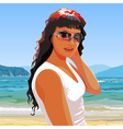 beautiful girl in sunglasses smiling standing vector image