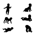 Silhouette of a baby in diapers vector image
