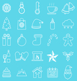 Winter line icons on blue background vector image