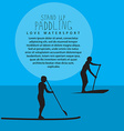two men with stand up paddle boards and p vector image