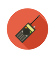Police radio flat style icon on round badge vector image